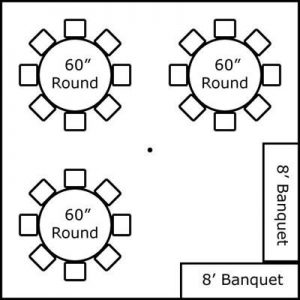 20′ x 20′ w/ Round Tables & Buffet
