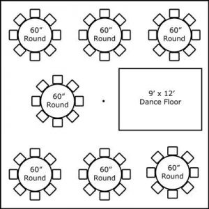 30′ x 30′ w/ Round Tables & Dance Floor