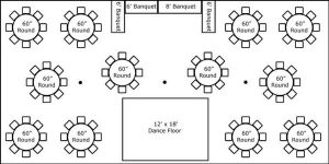 30′ x 60′ w/ Round Tables, Buffet & Dance Floor