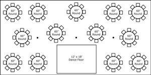 30′ x 60′ w/ Round Tables & Dance Floor