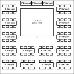 40′ x 40′ w/ Banquet Tables, Buffet & Dance Floor