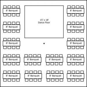 40′ x 40′ w/ Banquet Tables & Dance Floor