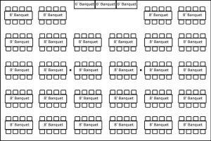 40′ x 60′ w/ Banquet Tables & Buffet