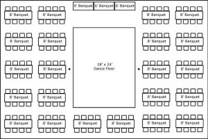40′ x 60′ w/ Banquet Tables, Buffet & Dance Floor