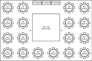 40′ x 60′ w/ Round Tables, Buffet & Dance Floor