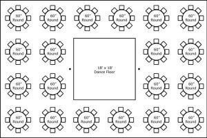 40′ x 60′ w/ Round Tables & Dance Floor