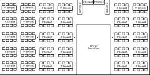 40′ x 80′ w/ Banquet Tables, Buffet & Dance Floor