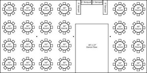 40′ x 80′ w/ Round Tables, Buffet & Dance Floor