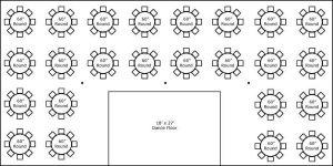 40′ x 80′ w/ Round Tables & Dance Floor