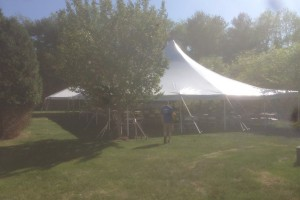 Wedding Long Valley, NJ 40×60 pole tent and 20×30 frame tent.
