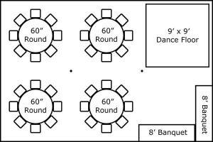 20′ x 30′ w/ Round Tables, Buffet & Dance Floor