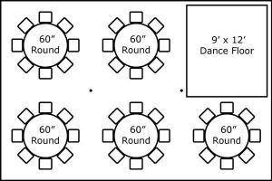 20′ x 30′ w/ Round Tables & Dance Floor