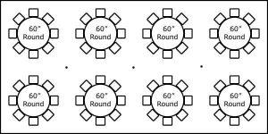 20′ x 40′ w/ Round Tables