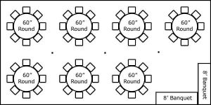 20′ x 40′ w/ Round Tables & Buffet