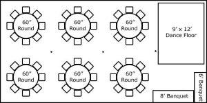 20′ x 40′ w/ Round Tables, Buffet & Dance Floor