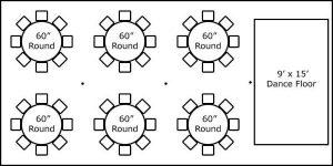 20′ x 40′ w/ Round Tables & Dance Floor