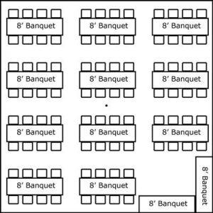 30′ x 30′ w/ Banquet Tables & Buffet