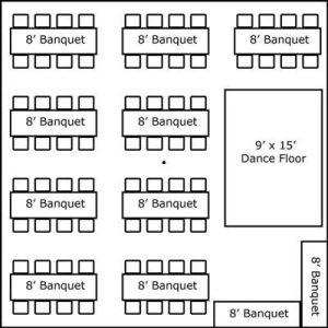 30′ x 30′ w/ Banquet Tables, Buffet & Dance Floor