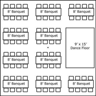 30′ x 30′ w/ Banquet Tables & Dance Floor
