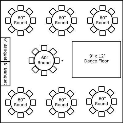 30′ x 30′ w/ Round Tables, Buffet & Dance Floor