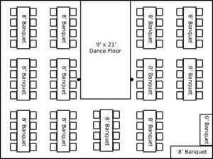 30′ x 40′ w/ Banquet Tables, Buffet & Dance Floor