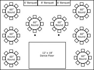30′ x 40′ w/ Round Tables, Buffet & Dance Floor