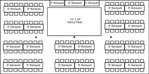 30′ x 60′ w/ Banquet Tables, Buffet & Dance Floor
