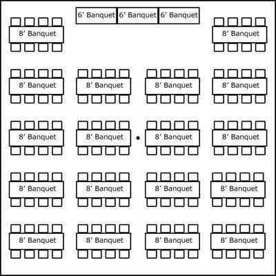 40′ x 40′ w/ Banquet Tables & Buffet