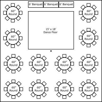 40′ x 40′ w/ Round Tables, Buffet & Dance Floor